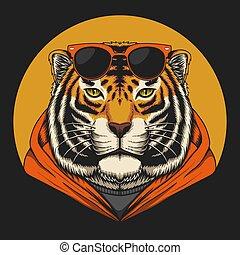 fresco, vetorial, tiger, ilustração