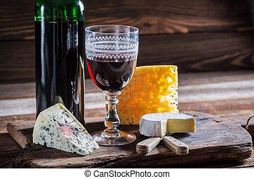 fresco, vinho, vermelho, queijo