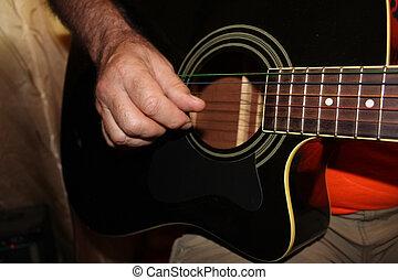 fretboard, antigas, guitarra, acústico