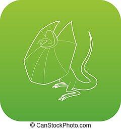 frill, necked, lagarto, vetorial, verde, ícone