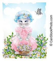 frock, saudação, meadow., card., feriado, butterfly., vestido, verão, aniversário, bonito, retrato, congratulation., cheio, flowers., cesta, paisagem, engraçado, cor-de-rosa, gato