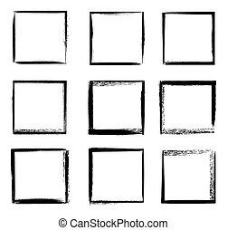 fronteiras, bordas, vetorial, isolado, grunge, quadrado, pretas