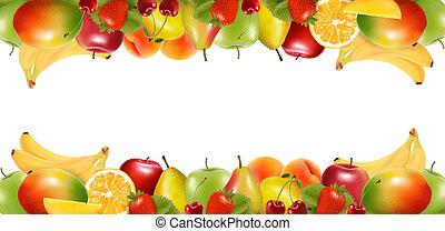 fruit., gostosa, fronteiras, maduro, dois, vector., feito
