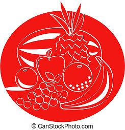 fruta, arte, clip