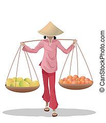 fruta, asiático, vendedor
