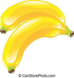 fruta, banana, clipart, ícone
