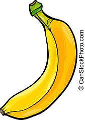 fruta, banana, ilustração, caricatura