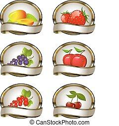 fruta, etiquetas, aguilhão, cobrança