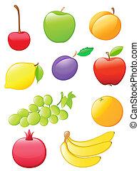 fruta, lustroso, ícones
