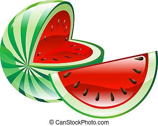 fruta, melancia, clipart, ícone