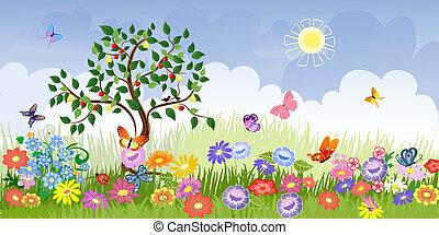 fruta verão, paisagem, árvores