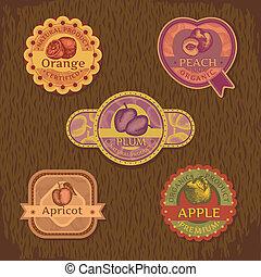 fruta, vindima, etiqueta