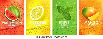frutas, bebida, together-, jogo, suco, respingue, manga, fruta, drink., hortelã, fresco, citron, vector., melancia, splashing., etiquetas