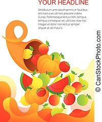 frutas, cornucópia, legumes