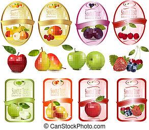 frutas, jogo, etiquetas