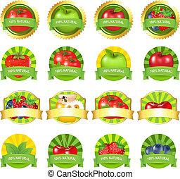 frutas, jogo, etiquetas, legumes