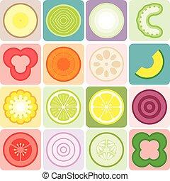 frutas, legumes, vetorial, ícones