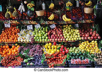 frutas, mercado fresco, legumes
