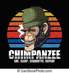 fumaça, chimpanzé, vetorial, retro, ilustração
