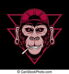 fumaça, vetorial, macaco, ilustração
