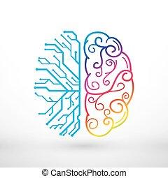 funções, criatividade, analítico, cérebro, vs, esquerda, direita, conceito, linhas, abstratos