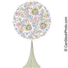 fundo, árvore, branca, coloridos