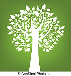 fundo, árvore verde, abstratos