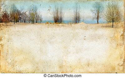 fundo, ao longo, grunge, lago, árvores