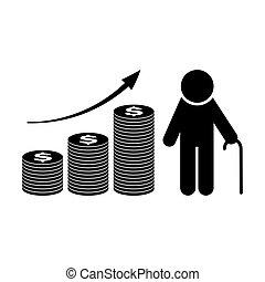 fundo aposentadoria, vetorial, crescimento, pensão, plan., icon.