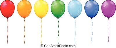 fundo, arco íris, balões, branca, vetorial, isolado