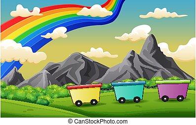 fundo, arco íris, céu, cena