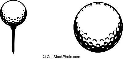 fundo, branca, isolado, ícone, golfe