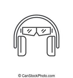 fundo, branca, proteção orelha, olho, isolado, ícone, vetorial, símbolo