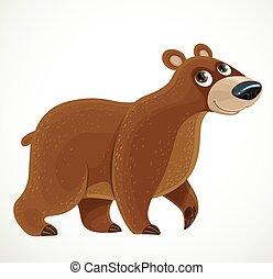 fundo branco, cute, marrom, caricatura, urso