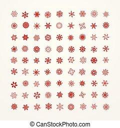 fundo branco, snowflakes, cobrança, vermelho