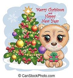 fundo, caricatura, pernas, presente natal, urso grande, olhos, cute, inverno árvore