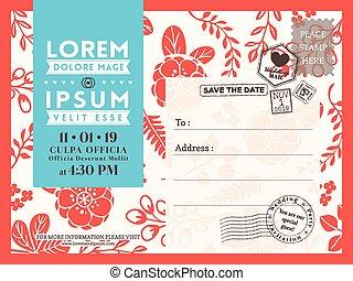 fundo, cartão postal, convite, modelo, casório, floral, cartão