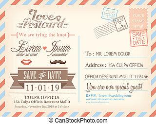 fundo, cartão postal, vindima, casório, vetorial, correio aéreo, modelo, convite, cartão