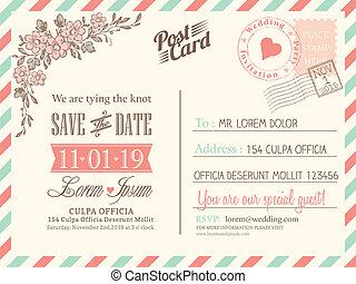 fundo, cartão postal, vindima, casório, vetorial, modelo, convite
