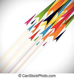 fundo, coloridos, setas, abstratos, linhas, vetorial, modelo