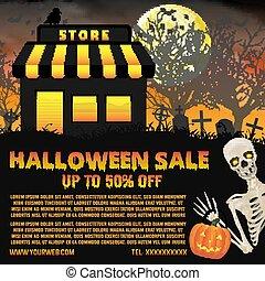 fundo, dia das bruxas, cartaz, cemitério, loja, venda
