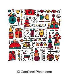 fundo, esboço, natal, desenho, seu