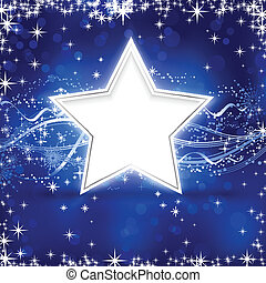 fundo, estrela, natal, azul, prata