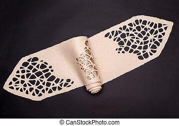 fundo, fêmea preta, felted, lã, echarpe