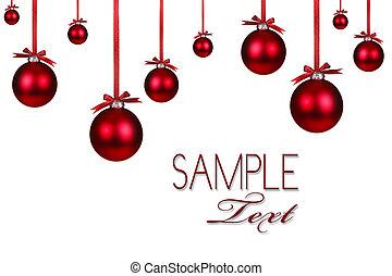 fundo, feriado, natal, vermelho, ornamento