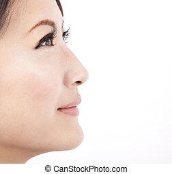 fundo, fim, isolado, rosto, branca, mulher, beleza, cima, asiático