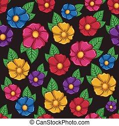 fundo, flor, coloridos, padrão, seamless