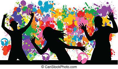 fundo, grunge, party-