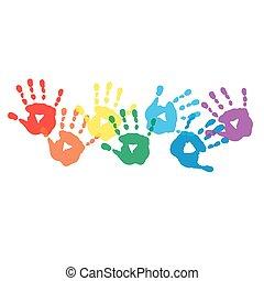 fundo, handprints, colorido, abstratos, arco íris