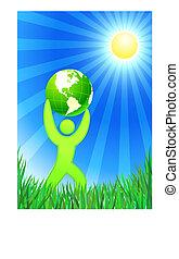 fundo, homem, verão, globo verde